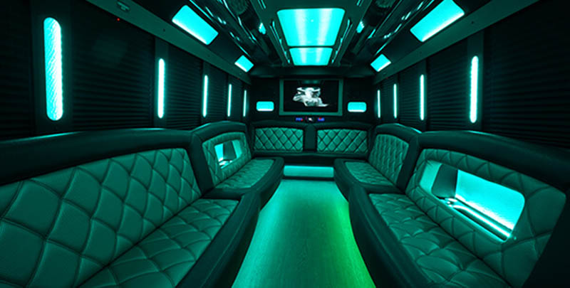 Party Bus Interior with Dance Pole